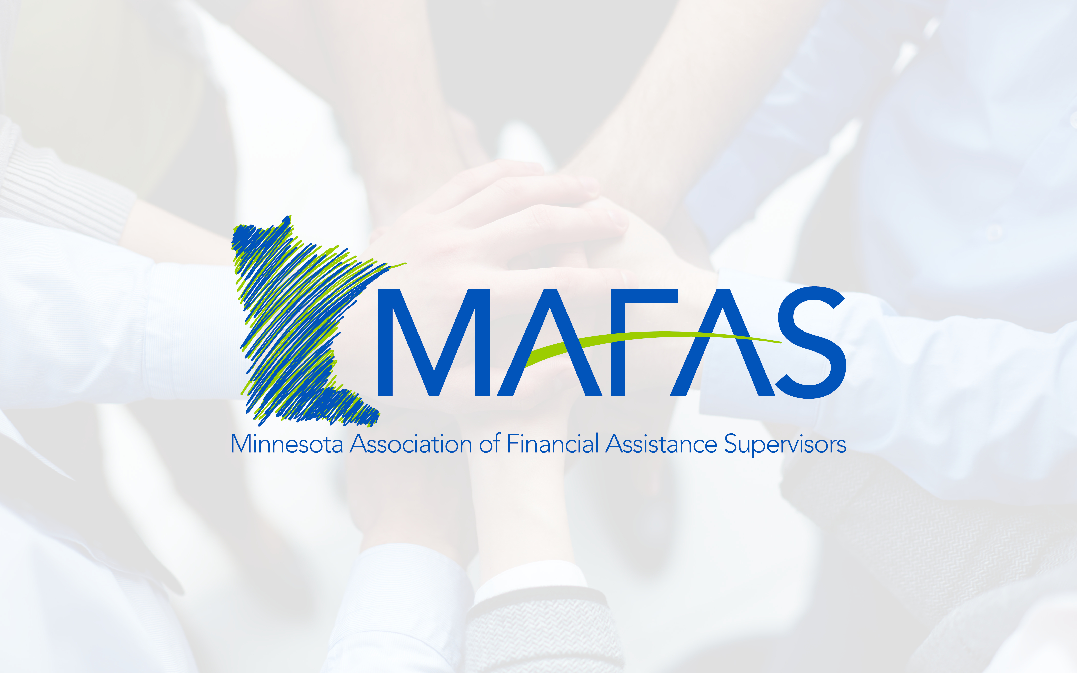 The logo for MAFAS, superimposed on an image of people putting their hands on each other.