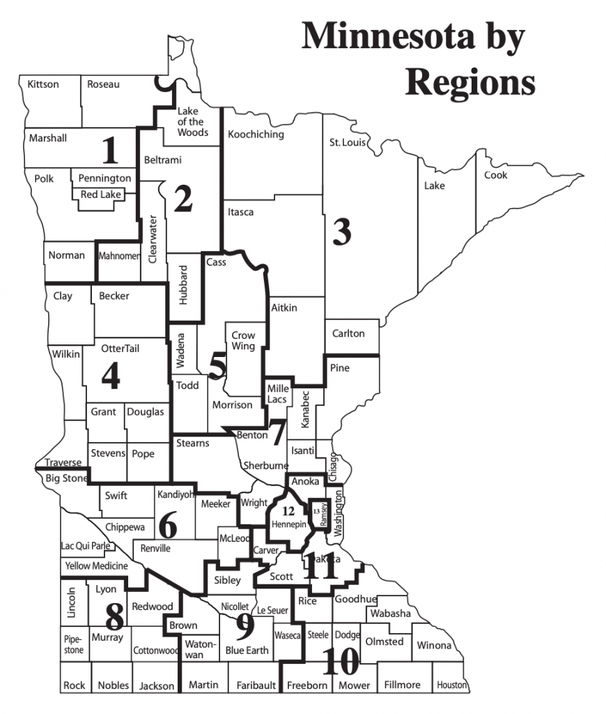 A lit of regions of Minnesota, with counties overlaid. Image courtesy of the Minnesota Department of Human Services.